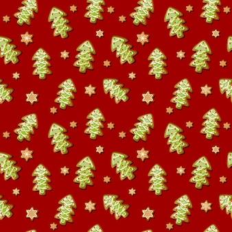 Vector weihnachtsnahtloses muster mit baumlebkuchenplätzchen und -schneeflocken.