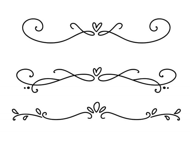 Vector weinleselinie elegante valentinsgrußteiler und -trennzeichen, strudel und dekorative verzierungen der ecken. florale linien filigran