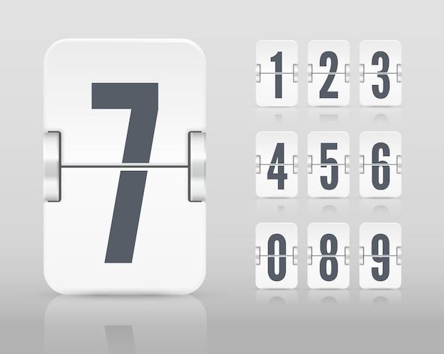 Vector weiße flip-scoreboard-vorlage mit zahlen und reflexionen für weißen countdown-timer oder kalender auf hellem hintergrund.