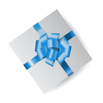 Vector weißen geschlossenen kasten mit blauem bogen für die geschenke oder geschenke, die auf weißem hintergrund lokalisiert werden.