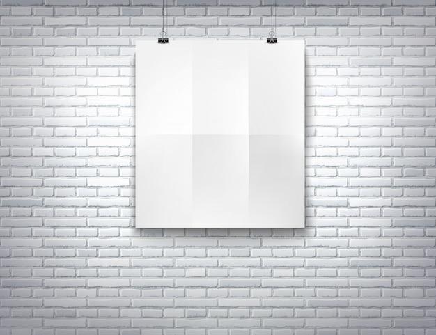 Vector weißes leeres hängendes papierplakatmodell