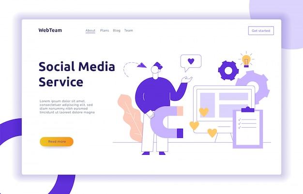 Vector werbung und marketing-social-media-service