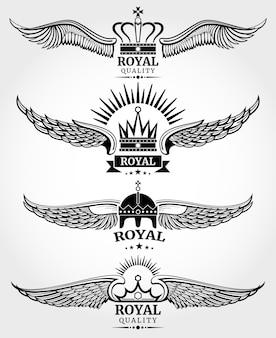 Vector winged krönt königliche logoschablonen eingestellt