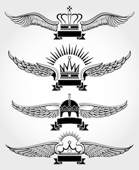 Vector winged Kronen und königliche Logoschablonen der Bänder eingestellt