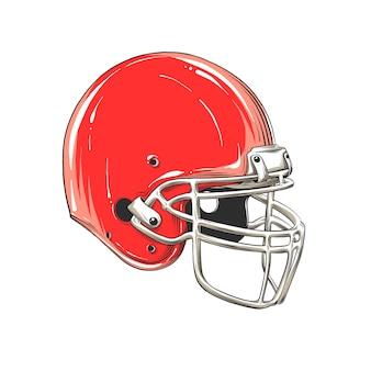 Vector zeichnung des amerikanischen football-helms in der farbe, lokalisiert