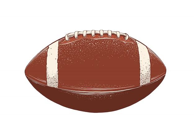 Vector zeichnung des rugbyballs in der farbe, lokalisiert