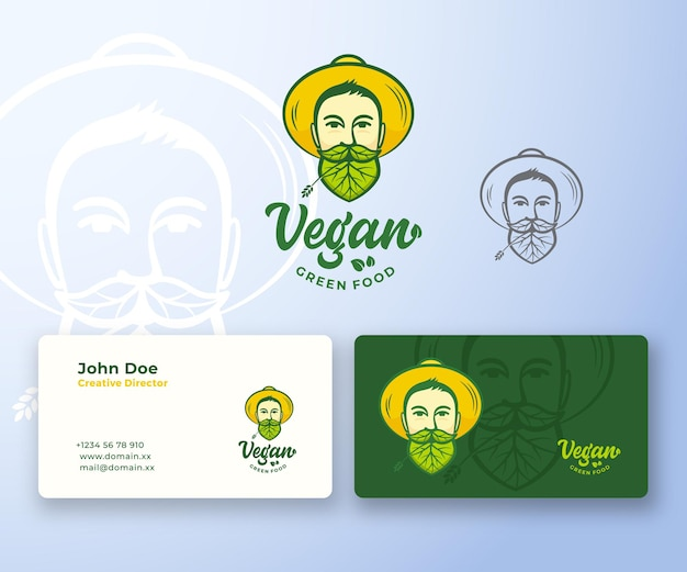 Vegan food abstract logo und visitenkarte Premium Vektoren