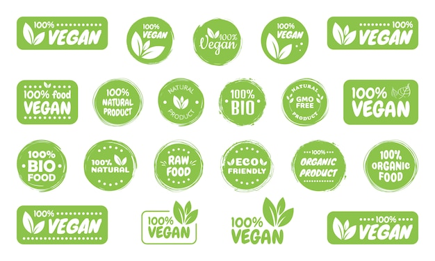 Vegan food logo etiketten