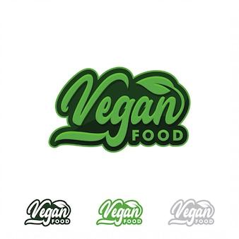 Vegan food logo oder etikett. gesunde lebensmittel- und produktikone mit grüner blattillustration.