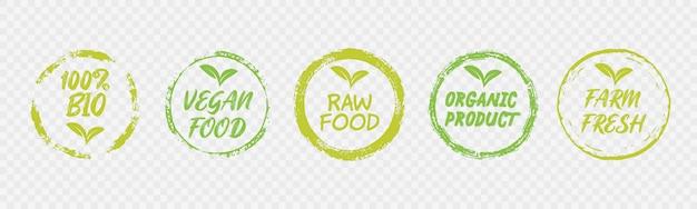 Vegane gesunde ökologie bio emblem design