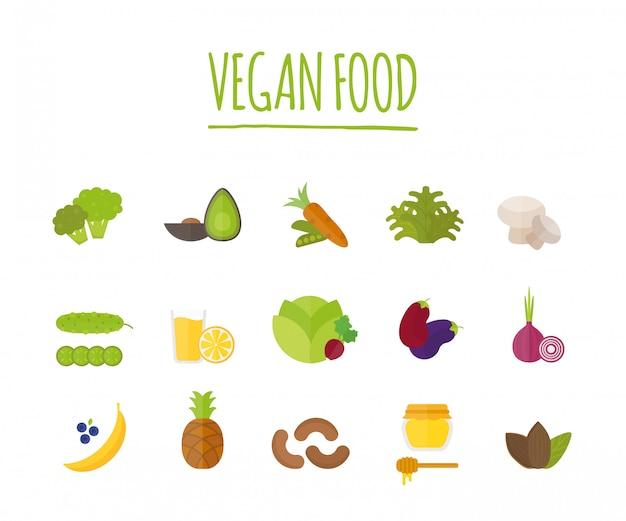 Vegane lebensmittel-vektor-illustration