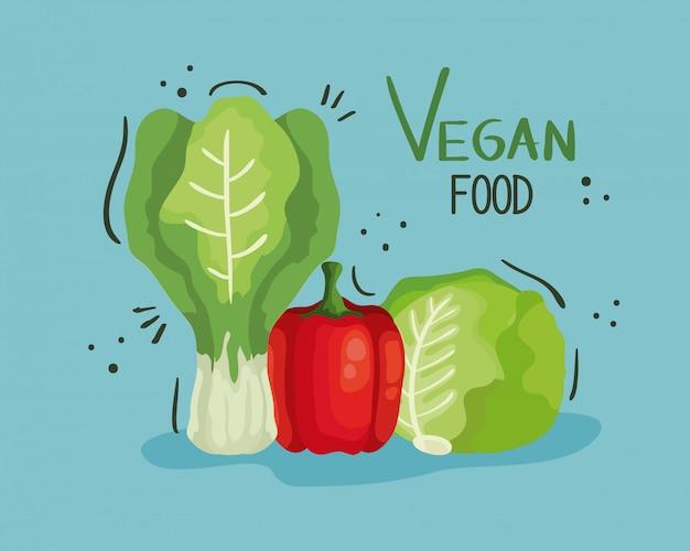 Vegane lebensmittelillustration mit paprika und gemüse
