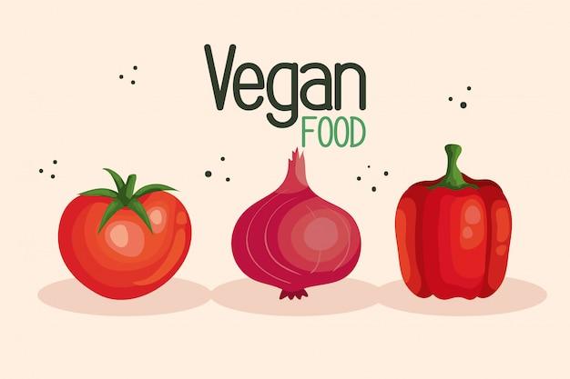 Vegane lebensmittelillustration mit tomate und gemüse