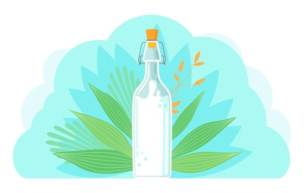 Vegane milch auf pflanzlicher basis. gesunde kuhalternative zu laktosemilch, einem umweltfreundlichen produkt, das laktosefrei ist