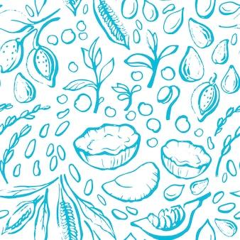 Vegane naturmilch nahtloses muster natürlicher soja-kokos-kürbis-mandel-sesam-reis