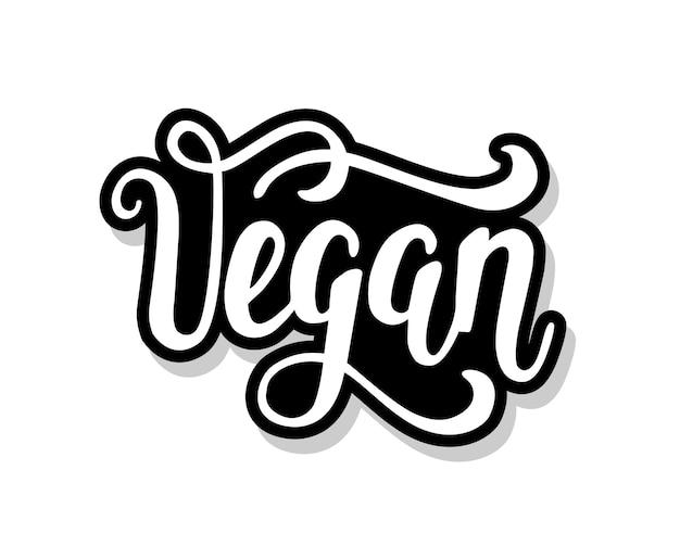 Veganer kalligraphietext lokalisiert auf weiß