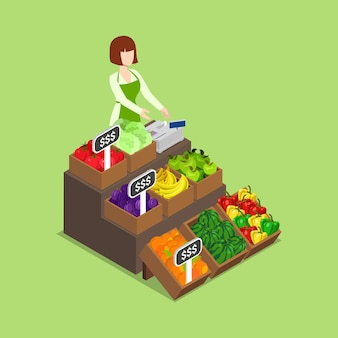 Veganer ladenmarkt für frische öko-grüne lebensmittel auf dem bauernhof