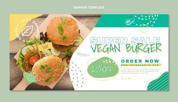 Veganer lebensmittelverkaufshintergrund des flachen designs