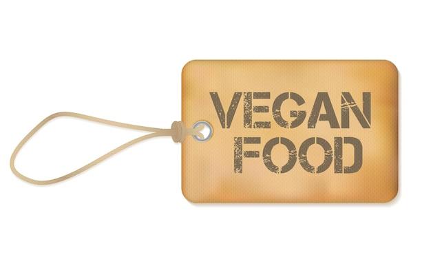 Veganes essen altes papier grunge-etikett-vektor-illustration