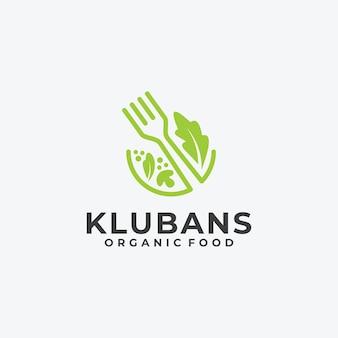Veganes essen blatt natur konzept logo linear