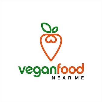 Veganes essen logo einfache karotte strichzeichnungen