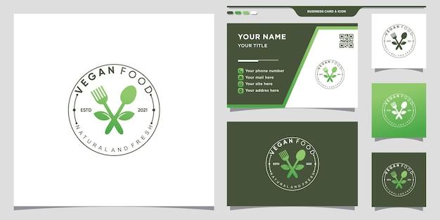 Veganes lebensmittellogo für restaurant mit blatt- und kreiskonzept. logosymbol und visitenkartendesign premium-vektor