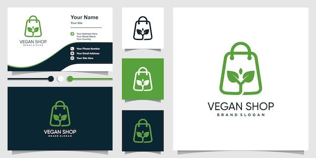 Veganes shoplogo mit kreativem und modernem stil premium-vektor
