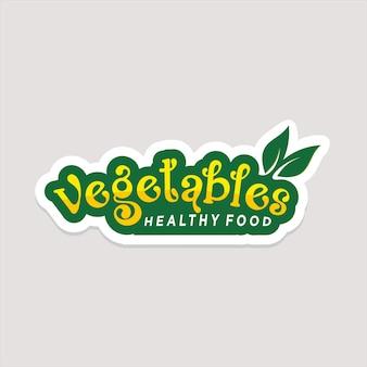 Vegetable health logo oder label oder aufkleber für gesunde lebensmittel premium-vektor