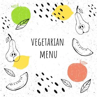 Vegetarier, gezeichnete art der veganen menüschablone in der hand. handgezeichneter stil.