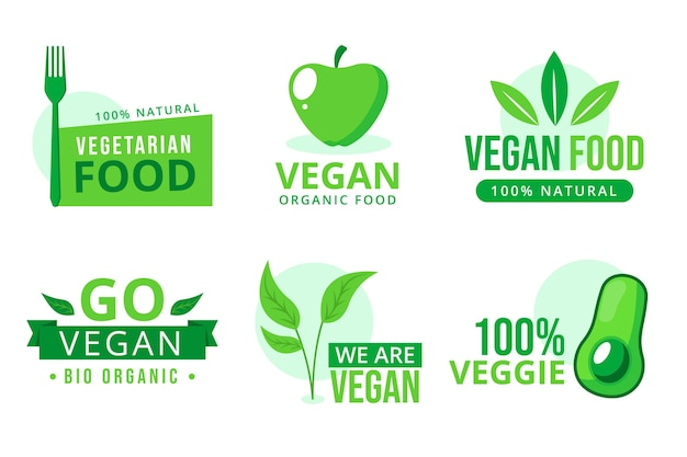 Vegetarische abzeichensammlung im flachen design