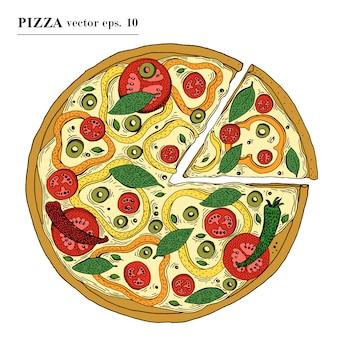 Vegetarische hand der italienischen pizza gezeichnete vektorillustration. kann für pizzeria, café, geschäft, restaurant verwendet werden.