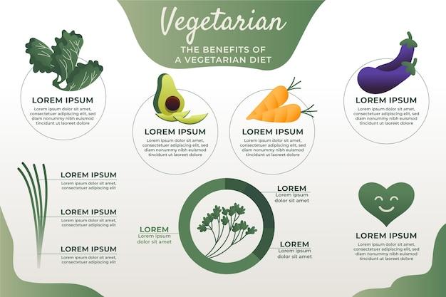 Vegetarische infografik mit farbverlauf