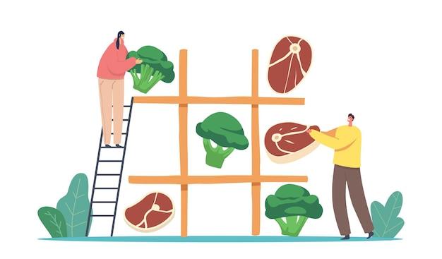 Vegetarische oder fleischige ernährungswahl. winzige männliche und weibliche charaktere spielen riesige nullen und kreuze mit gesunden und ungesunden produkten fleisch gemüse lebensmittel. cartoon-menschen-vektor-illustration