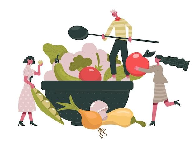 Vegetarisches essen. menschen kochen gesunde bio-diät-lebensmittel, grüns und gemüse gesunde zutaten cartoon-vektor-illustration. bio-vegetarisches menü. diätkost bio, vegetarisches gesundes abendessen