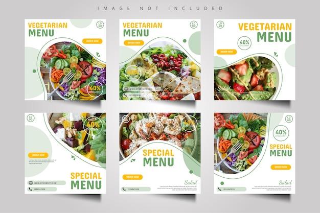Vegetarisches essen menü social media post banner vorlage