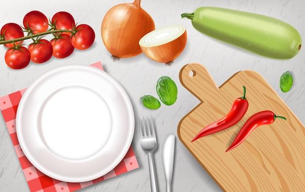 Vegetarisches gericht vorbereitung vorlage