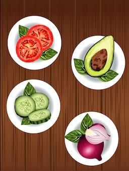 Vegetarisches gesundes essen mit gemüse im gericht über hölzernem hintergrund