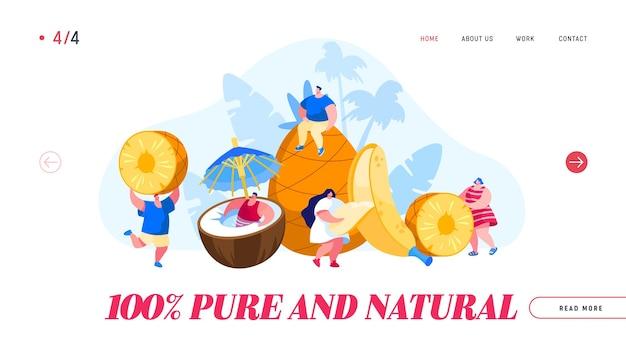 Vegetarisches gesundes essen und sommerfrische saftgetränke cocktails landing page