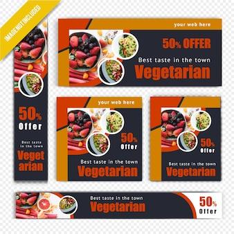 Vegetarisches netz-fahnen-set für restaurant