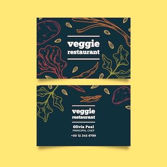 Vegetarisches restaurant mit visitenkartenkarte