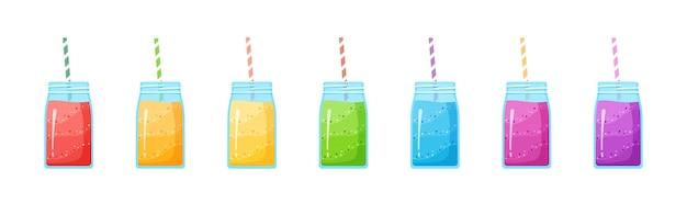 Vegeterian smoothie shake cocktail sammlung illustration. set glas mit schichten von süßem vitaminsaftcocktail oder protein-shake für smoothies fitness-bar-design