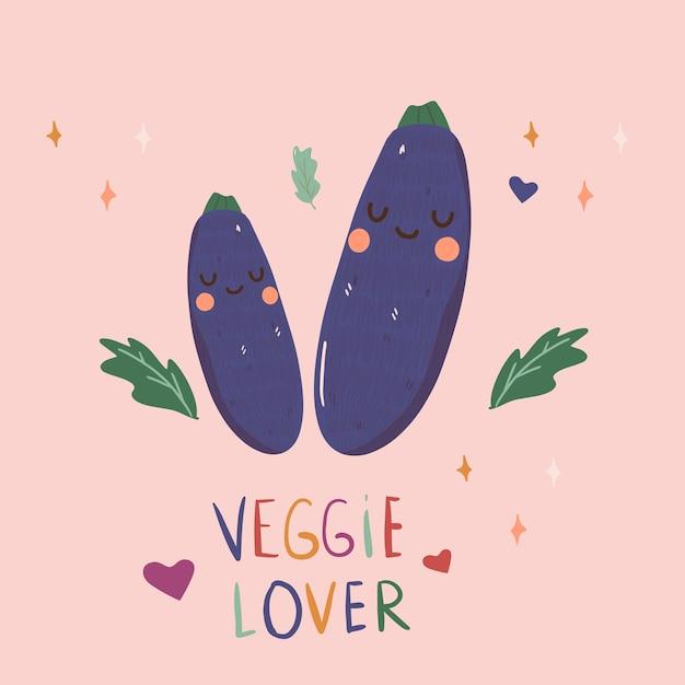 Veggie liebhaber auberginen illustration