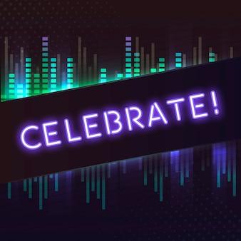 Veilchen feiern neonschildvektor