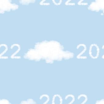 Vektor 2022 mit gedankenwolke nahtloses muster auf hintergrund des blauen himmels