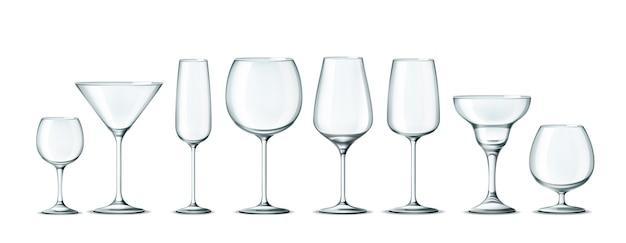 Vektor-3d-alkohol-cocktail-glas für getränkeset