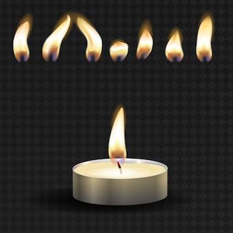Vektor 3d brennendes realistisches kerzenlicht oder teelicht und verschiedene flamme eines kerzensymbolsatzes