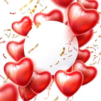 Vektor 3d herzballon konfetti realistischen rahmen