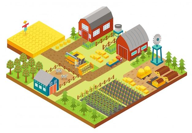 Vektor 3d isometrische ländliche farm mit mühle, gartenfeld, bäume, traktor kombinieren mähdrescher, haus, windmühle und lager für app und spiel.