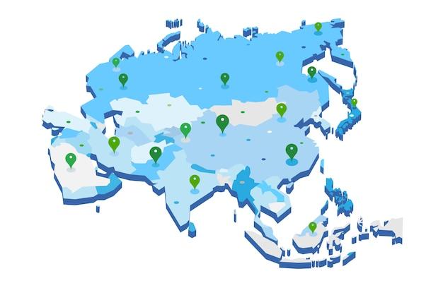 Vektor 3d karte des asiatischen kontinents mit gps-stiften