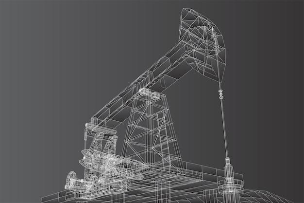 Vektor-3d-ölplattformen aus polygonen und linien